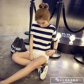 黑衣服上衣2018新款韓版夏裝純棉短袖條紋t恤女寬鬆冰絲針織體恤『韓女王』