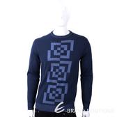 VERSACE 幾何切割圖形深藍色針織羊毛衫 1810129-34