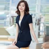 OL套裝(短袖裙裝)-優雅純色修身夏季女制服4款73mp80【巴黎精品】