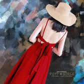 露背紅色長裙連衣裙女夏波西米亞度假蝴蝶結禮服沙灘裙性感吊帶裙