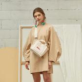 斜跨正韓刺繡字母mini寬帶小背包單肩手提帆布女包包 『名購居家』