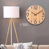 掛鐘 木制掛錶簡約鐘錶時尚羅馬/北歐原木質掛鐘客廳創意靜音木紋時鐘YYS 俏腳丫