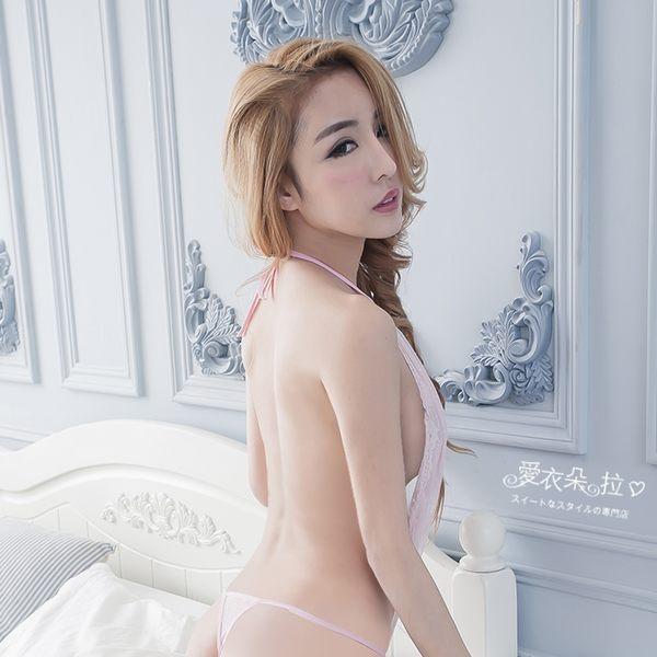 情趣內衣 裸背高叉連身衣 蕾絲深V性感睡衣 褲底開襠-愛衣朵拉
