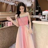 清倉$388 韓系粉嫩彩虹網紗亮片吊帶性感甜美無袖洋裝
