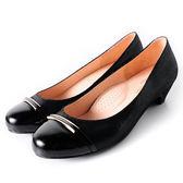 Clay Derman   時尚金屬扣飾低跟鞋-黑