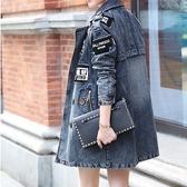 女牛仔外套中長版-時尚歐洲水洗做舊單寧夾克72m7【巴黎精品】