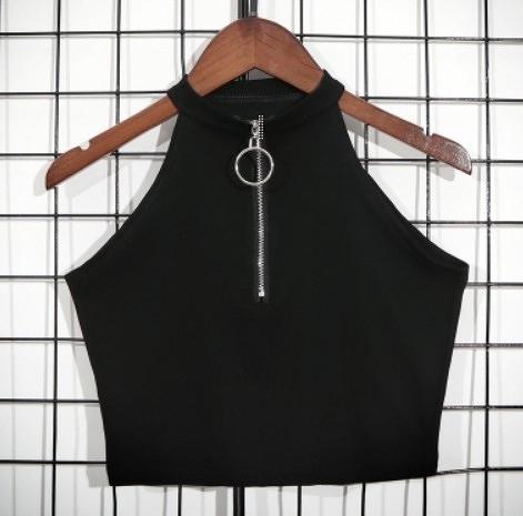 EASON SHOP(GW6746)實拍繞頸圓鐵圈拉鏈彈力貼身黑色無袖背心露肩露背削肩女上衣服黑色內搭衫小可愛