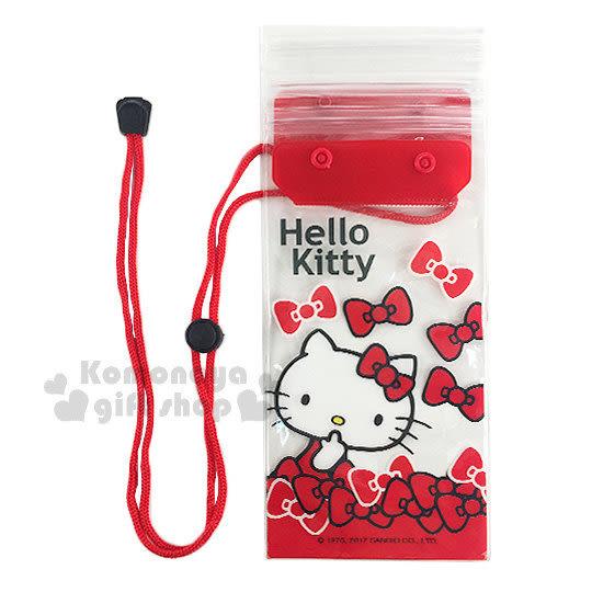 〔小禮堂〕Hello Kitty 防水手機袋《紅.透明.摸臉.蝴蝶結》附頸掛繩 7035170-40003