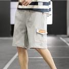 夏季工裝短褲 男寬鬆薄款運動休閒五分褲男士潮流刺繡工裝七分沙灘褲男 JX1421『Bad boy時尚』
