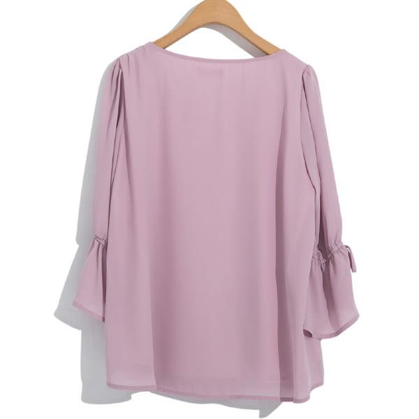單一優惠價[H2O]V領兩側繡花泡泡袖雪紡上衣 - 白色/粉色 #8685004