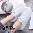 [Here Shoes] 零碼36 2cm 可踩後跟 皮革素面 圓頭平底免綁帶休閒鞋 後踩腳 小白鞋-KSY017