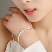 正品s999純銀手鐲女生時尚實心銀手鐲學生手環飾品送女友媽媽禮品