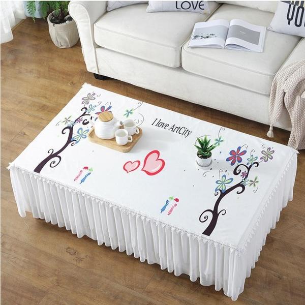 茶幾桌布蕾絲長方形客廳家用防塵墊電視柜蓋巾布藝全包茶幾布套罩