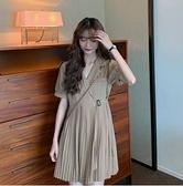 西裝裙 2021年新款春款茶歇法式設計感小眾氣質百褶西裝連身裙子女裝夏季 伊蘿