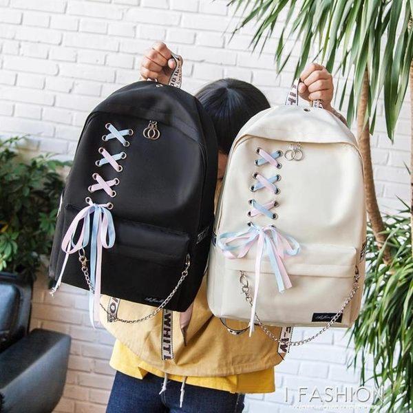 新款帆布蝴蝶結可愛雙肩背包女韓版校園初中學生簡約百搭原宿書包-Ifashion