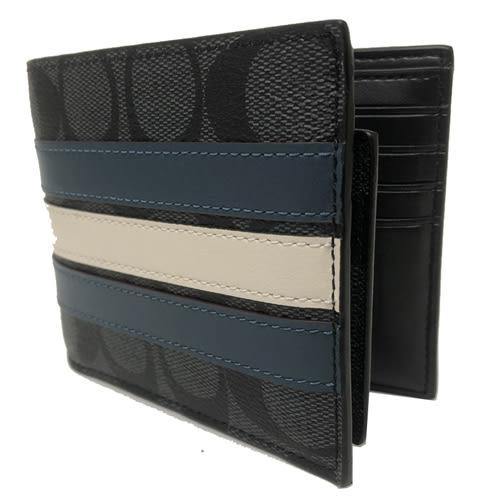 【COACH】經典C LOGO立體配色橫紋PVC皮革 8卡對折輕便短夾附活動證件夾(黑灰)