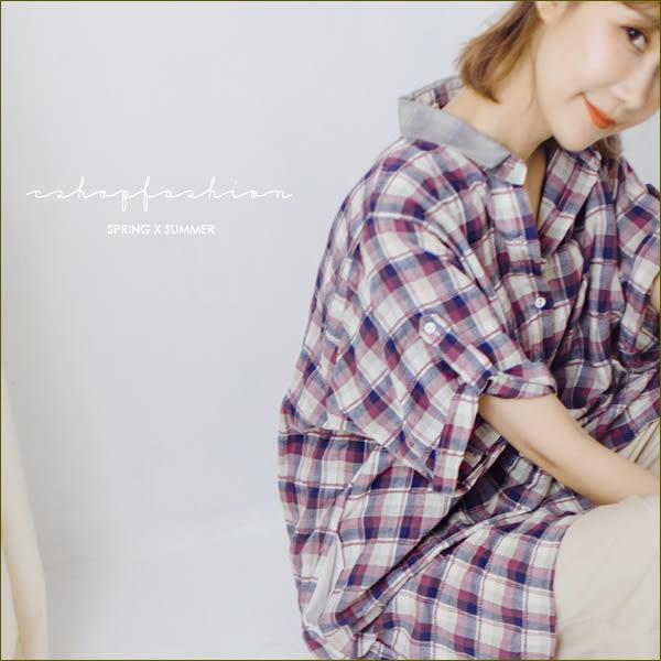 長版衫  個性日著歐根紗領格紋長版襯衫.洋裝   二色-小C館日系