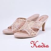 kadia.優雅水鑽透膚網紗拼接高跟涼拖鞋(9111-65粉色)