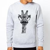 Giraffe-bonjour大學刷毛美國棉T-灰色 長頸鹿 你好 法國 眼鏡 鬍鬚 動物 文青 Gildan 980