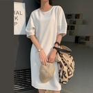 簡約時尚燈籠短袖洋裝連身裙韓版【89-16-8L039-21】ibella 艾貝拉