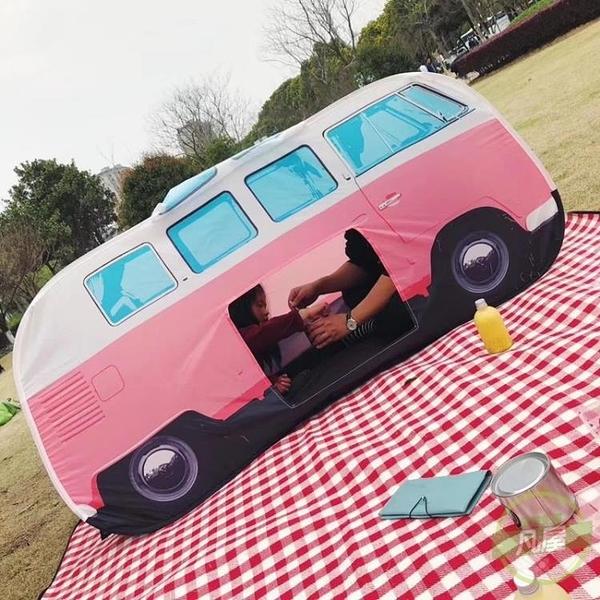 野餐帳篷 兒童野餐帳篷巴士汽車帳篷春游郊游帳篷寶寶游戲屋紅白格子野餐墊-快速出貨