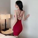 性感洋裝 春季新款露背小吊帶裙子顯瘦包臀連衣裙修身打底短裙女裝 莎瓦迪卡