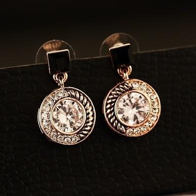 耳環 玫瑰金純銀鑲鑽-繽紛動人生日情人節禮物女飾品73ca56【時尚巴黎】