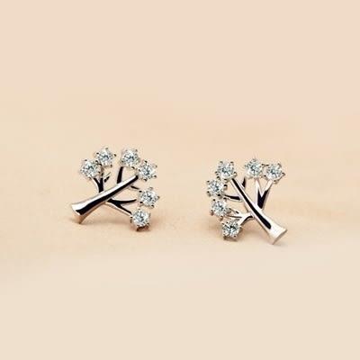 925純銀耳環(耳針式)-精緻甜美小樹生日聖誕節禮物女飾品73dr125[時尚巴黎]