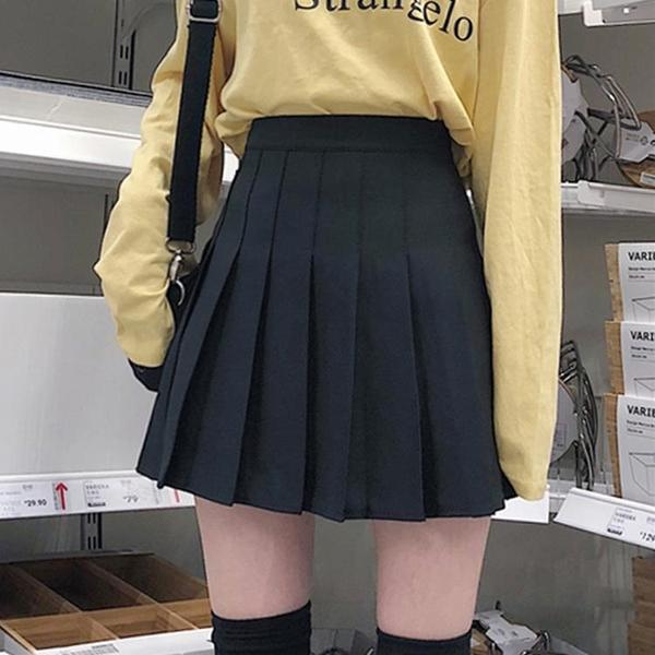 2021新款高腰百褶裙女夏季a字裙黑色半身裙學院風jk短裙顯瘦裙子 【端午節特惠】
