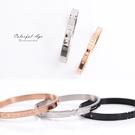手環 精緻刻字水鑽鋼製壓扣式手環 柒彩年代【NA309】單個售價