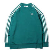 ADIDAS Originals 3-Stripes 三條線 綠色長袖 LOGO 大學T 男女 (布魯克林) ED6018