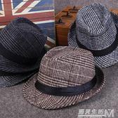 男士禮帽秋冬季時尚紳士帽爵士帽韓版潮英倫復古毛呢休閒帽子青年  遇見生活