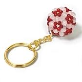 粉晶紅瑪瑙球雙色小花繡球鑰匙圈