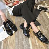 豆豆鞋女鞋春季新款韓版百搭英倫小皮鞋復古粗跟社會單鞋女秋