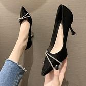 鞋子女2021秋新款時尚水鉆尖頭高跟鞋細跟網紅百搭法式淺口單鞋  【端午節特惠】