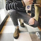 牛仔褲 - 灰色牛仔褲男直筒小腳褲男彈力修身休閑褲子【韓衣舍】