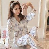 日式系睡衣女秋季純棉長袖寬鬆秋天和服性感開襟月子家居服套裝春【居享優品】