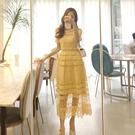 蕾絲洋裝 正韓夏裝新款時尚氣質花邊領黃色...