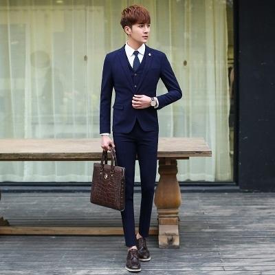 西裝套裝含西裝外套+西裝褲(三件套)-簡約素面百搭設計商務男西服3色73hc32【時尚巴黎】