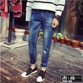 『潮段班』【HJ022402】刷白小拉環彈力直筒丹寧牛仔長褲