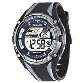 JAGA捷卡 多功能大視窗 冷光 電子錶 男錶 黑 M980-AC 黑灰 防水手錶 電子錶 夜光 軍錶 復古 運動錶
