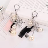 韓國創意鑰匙扣掛件蝴蝶結流蘇鑲鑚鑰匙圈