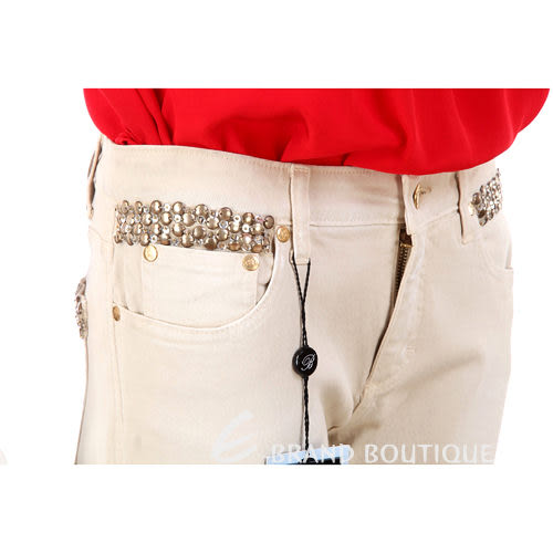 Blumarine卡其色鉚釘滾邊設計長褲 0920118-28