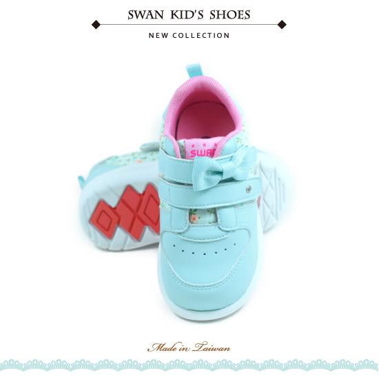 Swan天鵝童鞋-甜美碎花布機能運動休閒鞋0423-藍