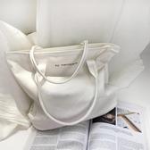 手提包ins潮人簡約字母百搭帆布包女韓國學生休閑單肩包環保購物手提袋快速出貨