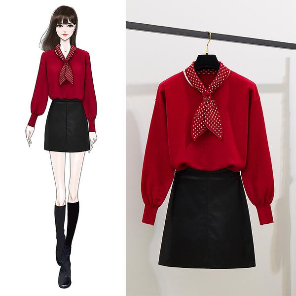 絕版出清 韓系波點拼接蝴蝶結針織衫皮裙套裝長袖裙裝