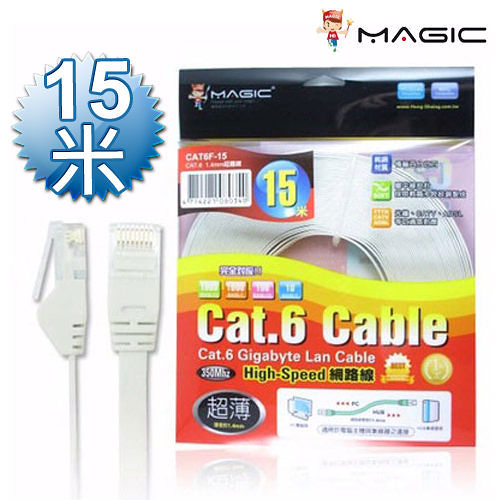 MAGIC 鴻象 Cat.6 Cat6 Hight-Speed 1.4mm 高速 超薄 網路線/扁線  - 15M CAT6F-15