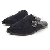 Petite Jolie 金屬徽章絨布穆勒鞋-黑色