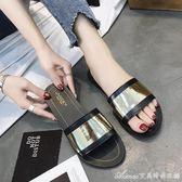 拖鞋 夏季新款韓版拖鞋外穿平底學生一字涼拖鞋女懶人度假沙灘鞋女  艾美時尚衣櫥