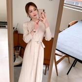 連身裙.韓系氣質圓領收腰綁帶針織顯瘦長袖洋裝.白鳥麗子